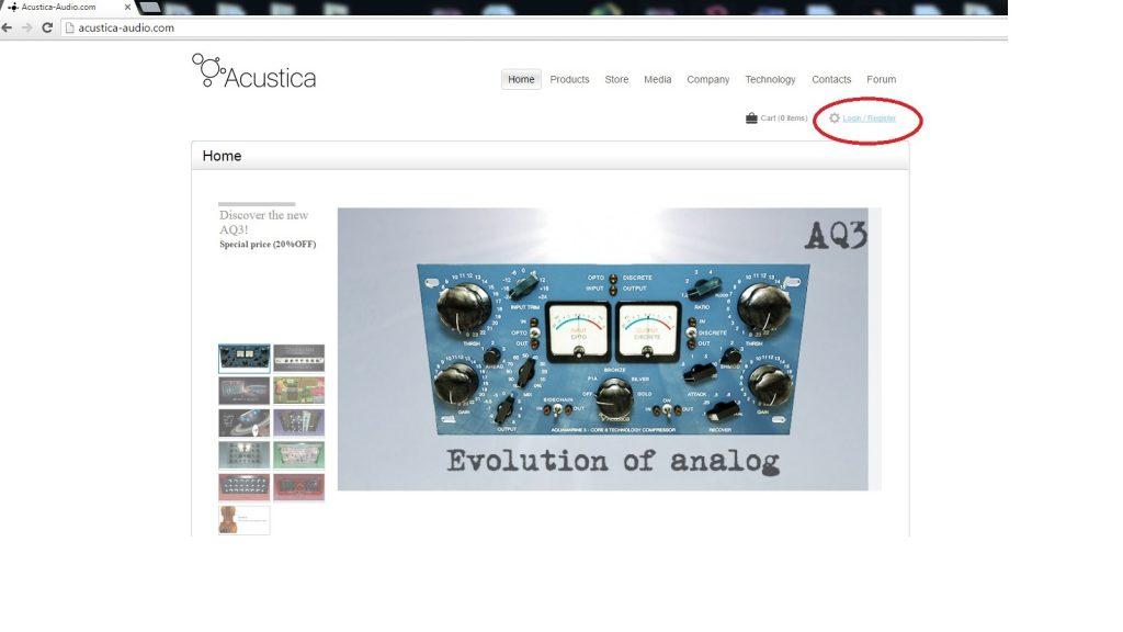 Acustica Acqua plugin installing authorizing